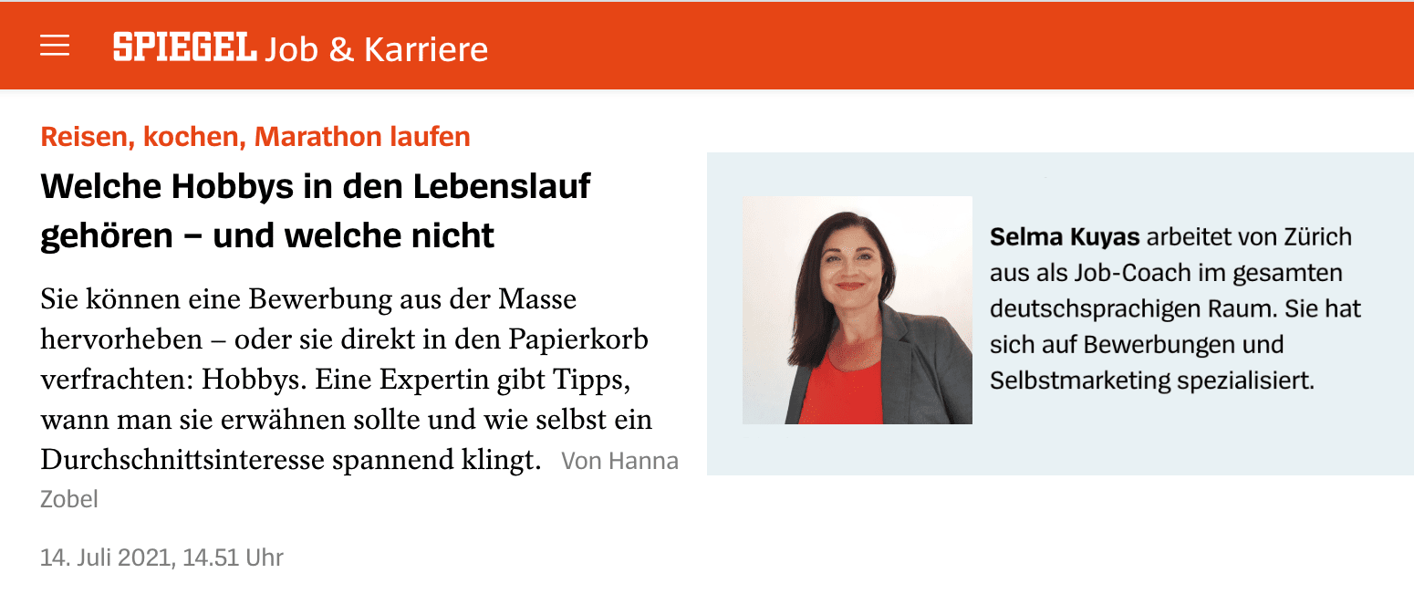 Hobbies im Lebenslauf Der Spiegel Interview
