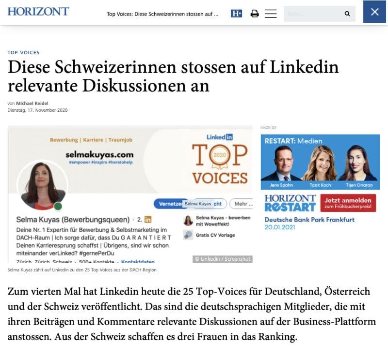Linkedin Top Voices Selma Kuyas Horizont.net