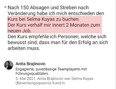 Testimonial Anita Bewerbungskurs Selma Kuyas