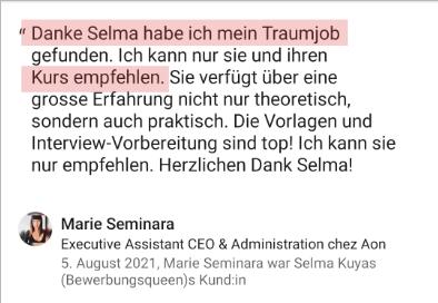 Testimonial Marie Bewerbungskurs Selma Kuyas